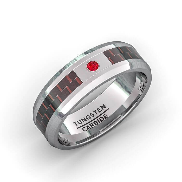 cubic zirconia tungsten ring